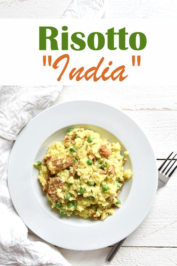 Risotto indisch angehaucht mit Curry, Erbsen und (vegetarischem) Geschnetzelten Hühnchen Art, vegan möglich, Thermomix