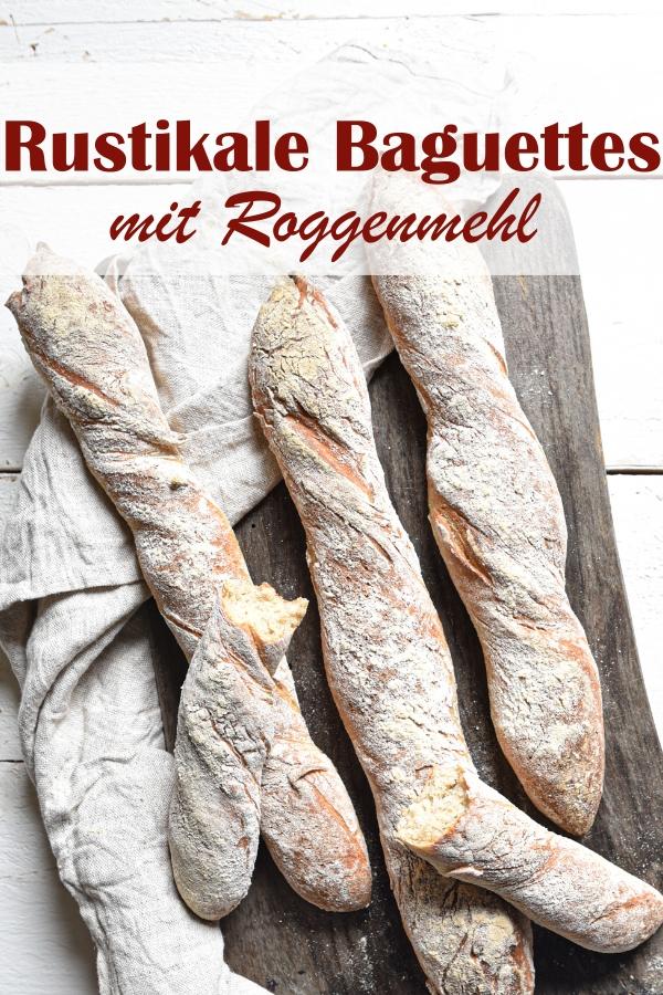 Rustikale Baguettes selber machen, einfaches Rezept, für Anfänger geeignet, aus Weizenmehl Type 405 oder 550 und Roggenmehl Type 1150 oder 997, Thermomix, vegan