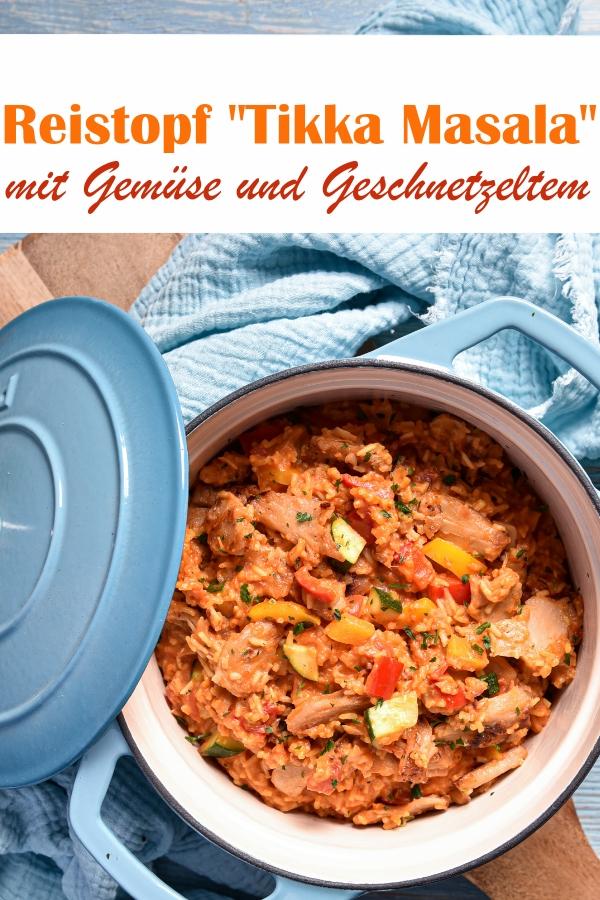 Reistopf Tikka Masala, Reis gekocht in Tomaten und Sahne, indisch gewürzt, mit Gemüse und Geschnetzeltem, z.B. vegetarisch oder vegan, Thermomix, Familienküche