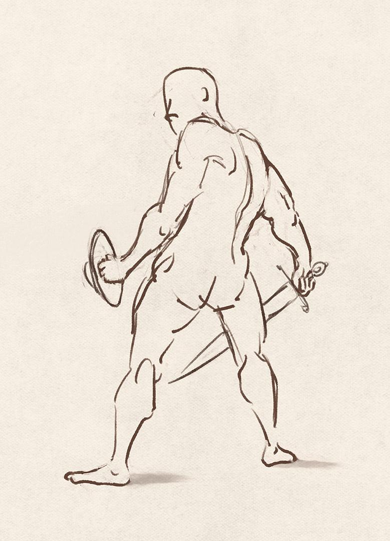 Bridgman study with sword and buckler.