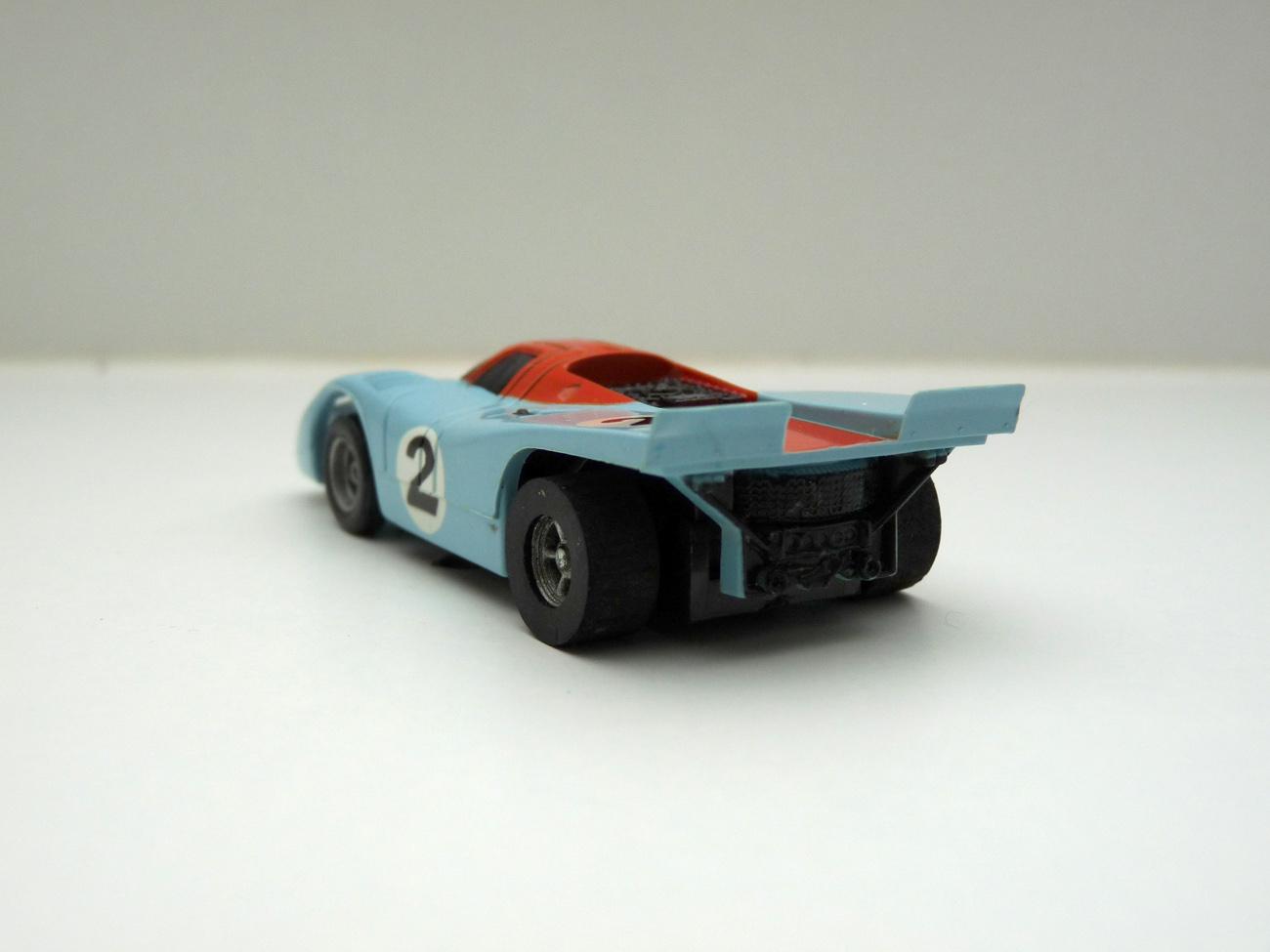 """AURORA AFX Porsche 917 hellblau/orange """"Gulf"""" #2 - schwarze Scheibe"""