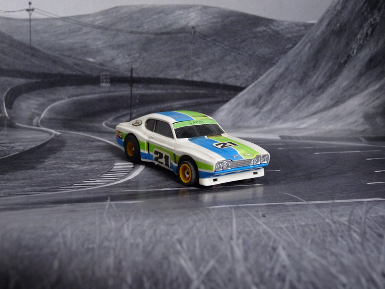 """AURORA AFX Ford Capri RS 2600 weiß/grün/blau #21 """"European Version 1"""""""