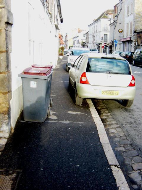 FONTAINEBLEAU trottoir encombré : poubelle et véhicule