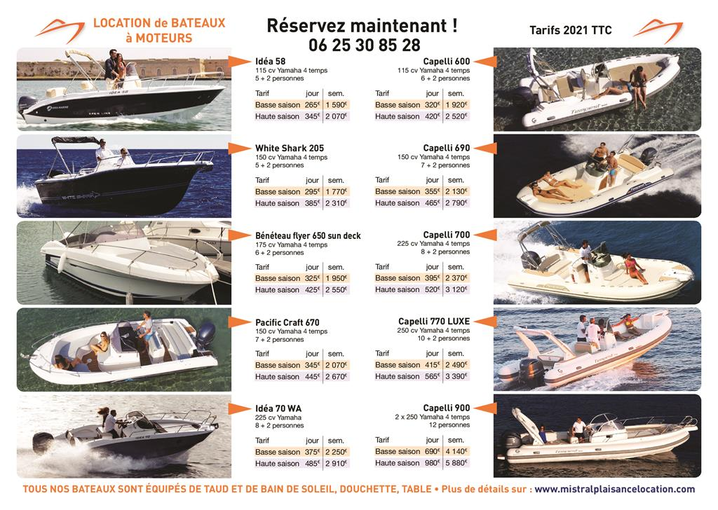 Mistral Plaisance Location, louer votre bateau ou semi-rigide au depart du Lavandou. Tarif et prix pas cher
