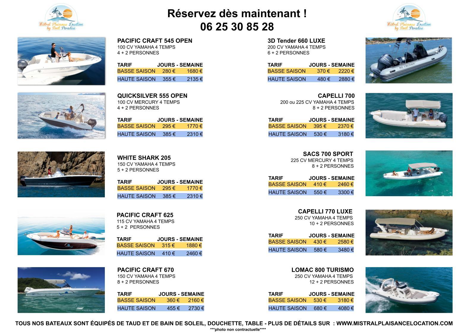 Prix et tarifs étudiés pour le particulier pour louer un bateau ou semi-rigide dans le Var au départ du Lavandou.