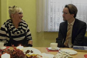 Entspannte Unterhaltung: Mathias Brodkorb und Andrea Weinke-Lau