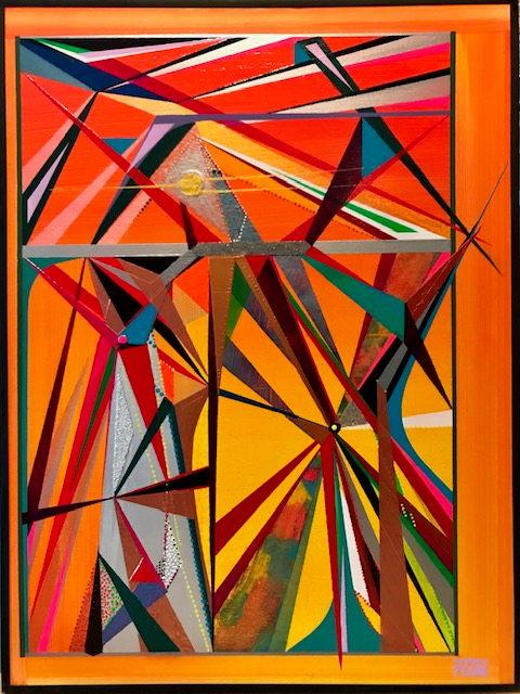 Ausdrucksstarke Arbeit mit festgelegten Abgrenzungen der geometrischen Formen.