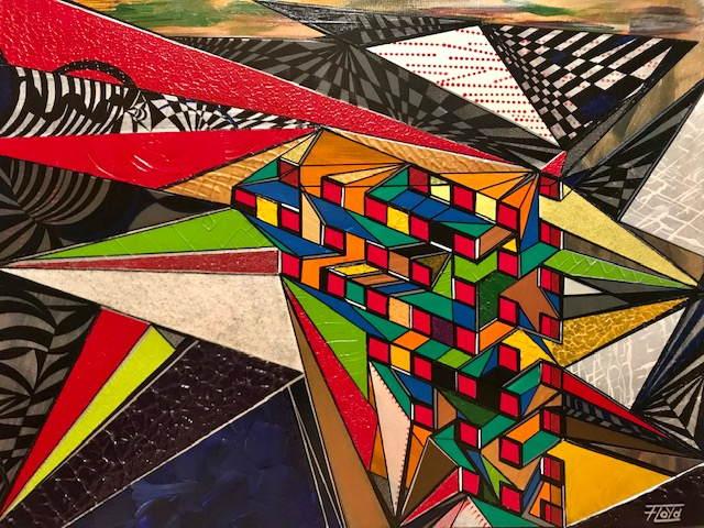 Unvorhersehbar in Richtung, farbe und/oder der Strukturellen Beschaffenheit von unzähligen, geometrischen Bildelementen ist dieses Kunstwerk. Die Interpretation von sehbehinderten Personen, durch das berühren von den Bildern ist ein großer Wunsch!