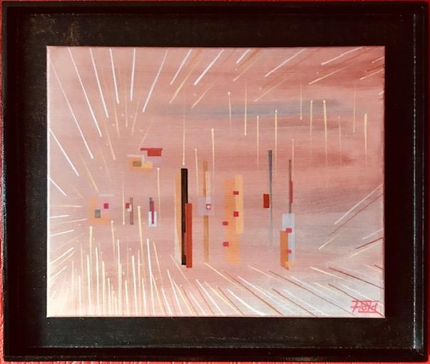 Gedeckte Farben und Gradlinige kontrastreiche Strukturen zieren dieses abstrakte Werk Fest gebunden mit einer schwarz lackierten, gerahmten Holzplatte. Im Klarlack sind winzige, rote Glassplitter integriert.