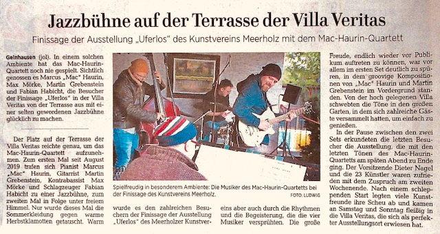 Finissage der September Ausstellung in Gelnhausen -  Musikalischer Begleitung Mac-Haurin-Quartett - ein würdiger Abschluss.