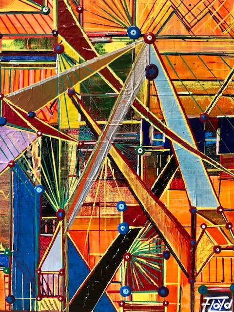 Farben und Linien aus Lacken und Acrylfarben, in vielen übereinander liegenden Schichten.