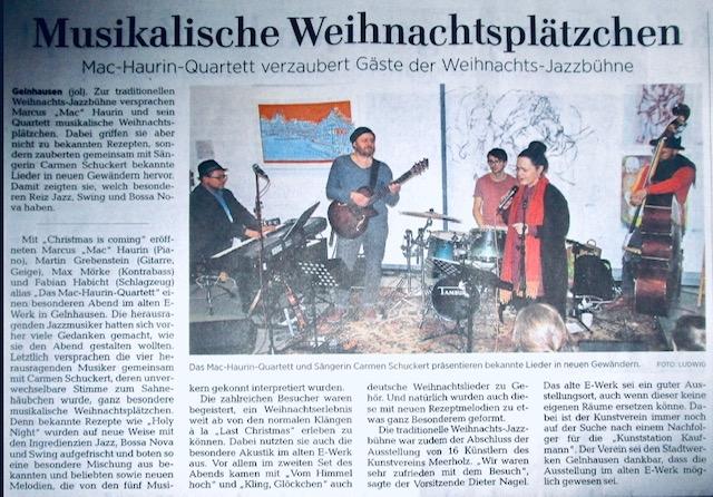 Finissage mit Sängerin Carmen Schuckert und dem Mac-Haurin-Quartett. Überraschende und Stimmgewaltige Leistung der super Musiker. Richtig gut!