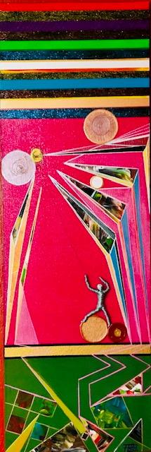 Psychedelische wirkende Farbflächen. Auf goldenem Kreis, aufrecht stehende Skulptur mit einer Schnüre aus Draht. Nach oben gespannt, zieht die Figur an einem gelben Gegenstand.