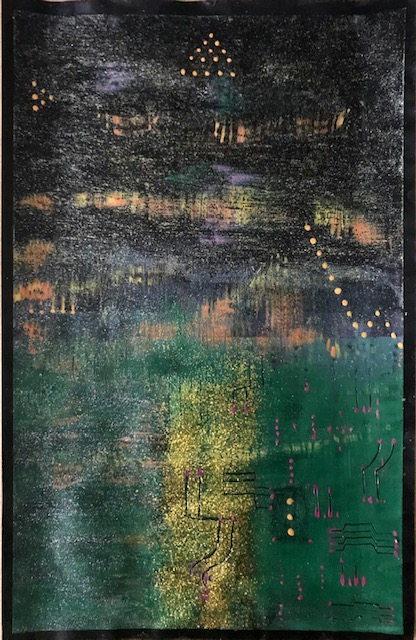 Schwarzer Künstler Karton dient als Basis. Mit goldenen Partikeln versehenen, abstrakte Fantasie Welt.