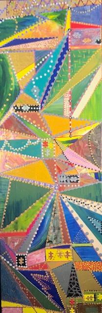 Äußerst zeitintensiv bearbeitet und farbenfroh, präsentiert sich diese Leinwand.