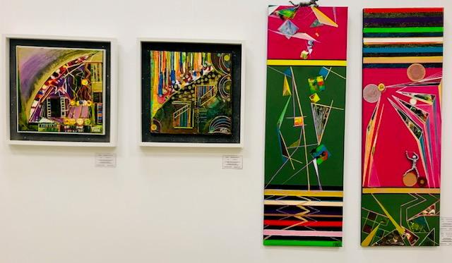 Diese Werke präsentiert Andreas Alka zur Sonderausstellung des Kunstverein Meerholz. Im Zeitungsartikel wurden sie als Farbintensive, Psychedelische werke betitelt.