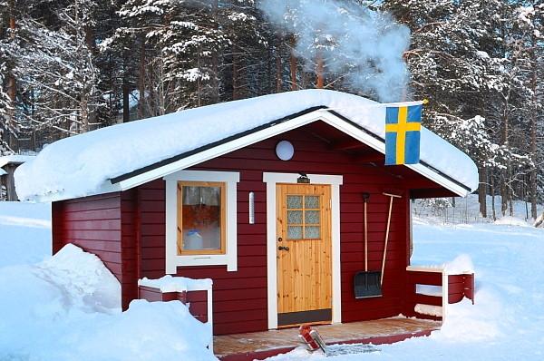 Blockhütte auf unserer Huskyfarm in Lappland