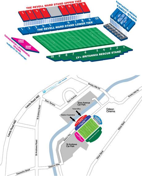 John Smith's Stadion Sitzplan, Huddersfield Town AFC, Quelle: www.htafc.com