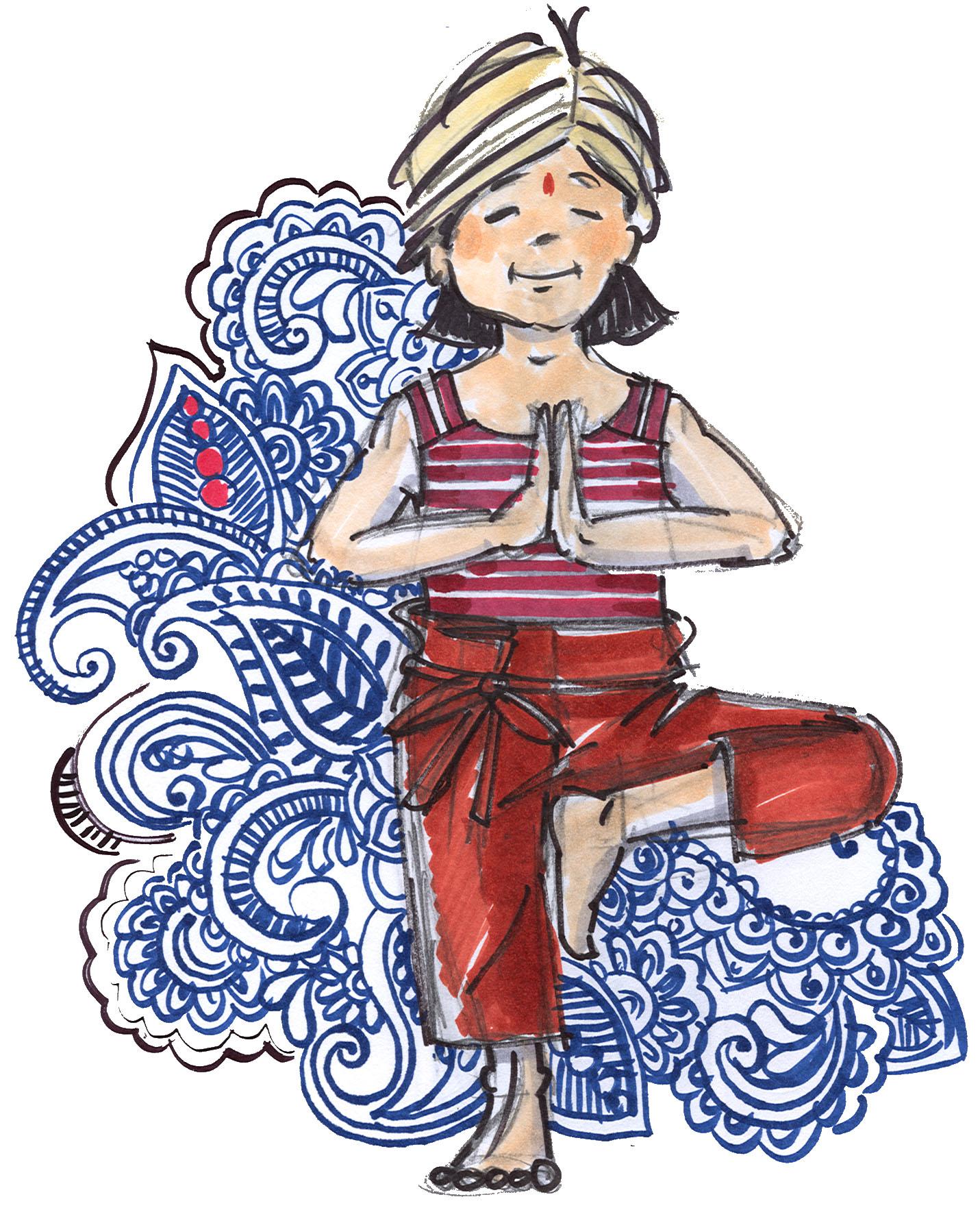 Een schets, waarin henna- en tattoe-invloeden voelbaar zijn.