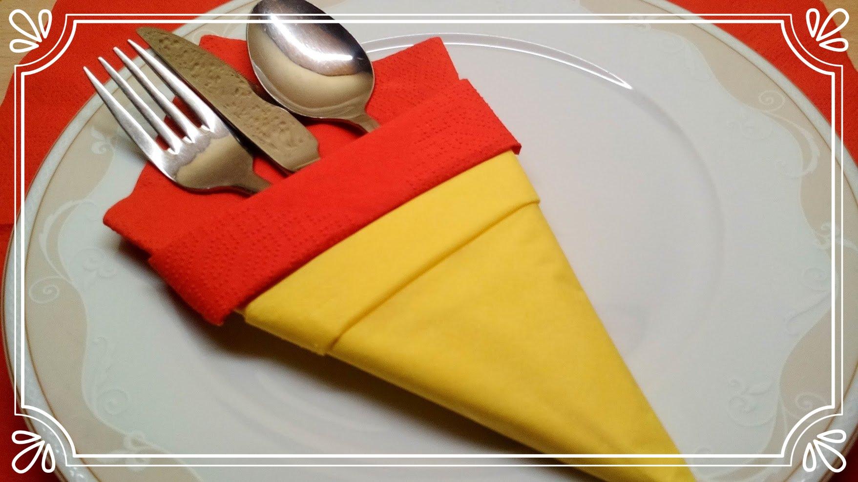 Bestecktasche Zweifarbig Falten Tischdeko Servietten Falten