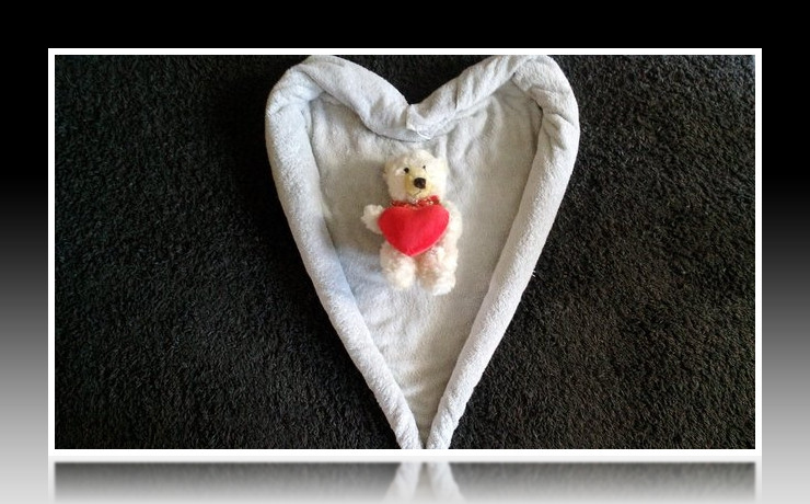 Handtuchfiguren falten Herz für deine Zimmerdekorationzu Valentinstag. Origami mal mit Handtüchern. Falte niedliche Figuren, Tiere und andere Origami Motive aus deinen Badetücher oder Gästetücher. Servietten falten mit Handtüchern. Basteln mit Kindern