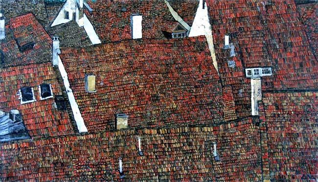 """Ротенбург. Крыши"" 50х70см х,м 2010г"