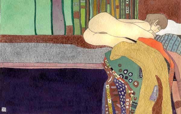 """""""Без названия"""" акварель, акрил, гуашь, золото бумага ручного литья 35х15см. частная коллекция (USA)"""