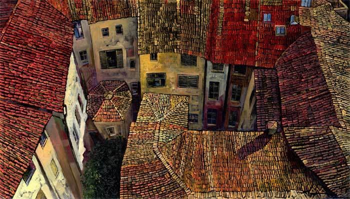 """""""Сиена вид с башни"""" х,м 40х70см 2005г. частная коллекция"""