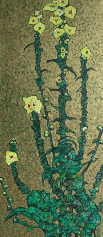 """""""Желтые цветы"""" 30х70см х,м, бронзовый акрил 2008г."""