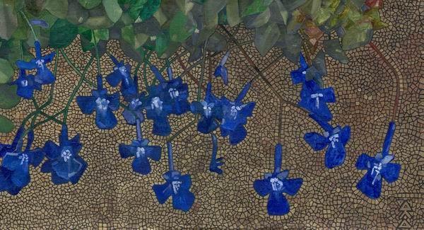 """""""Синие цветы"""" 28х50см холст на картоне масло, золотая краска 2004г."""