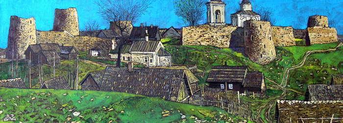"""""""Изборск. Весна"""" 45х120см х,м 2005-07г. (частная коллекция)"""