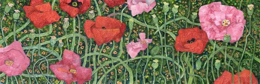 """Розовые и красные маки"" 2005г. 16Х50см холст на картоне."