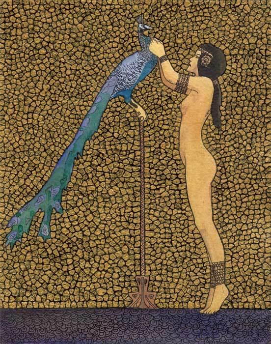 """""""NUDE 38"""" бумага ручного литья, золото, акварель, тушь, карандаш 2010г."""