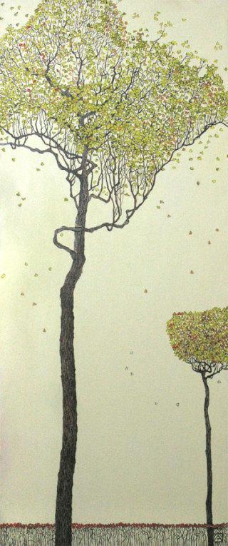 """Осень"" левая часть триптиха 90х30 х,м 2007г"
