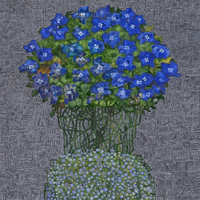 """""""Синие цветы 2"""" х,м,серебро 50х50см 2004г"""