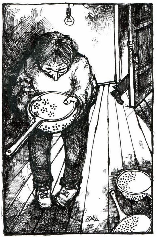 """Иллюстрация к произведению Владимира Шинкарёва """"Максим и Фёдор"""" тушь, бумага 1995г."""