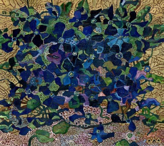 """Синие цветы"" 45х40см х,м 2003г."