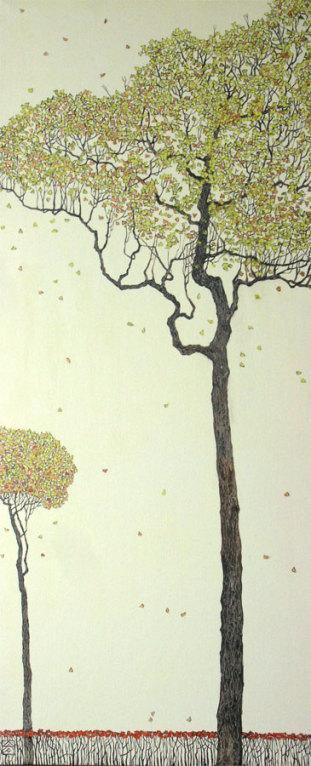 """Осень"" центральная часть триптиха 90х30 х,м 2007г."