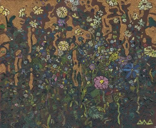 """""""Травы"""" 30х40см холст на картоне масло, золотая краска 2003г."""