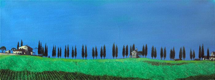 """Ферма и часовня.Тоскана"" х,м 30х80см 2010г. частное собрание"