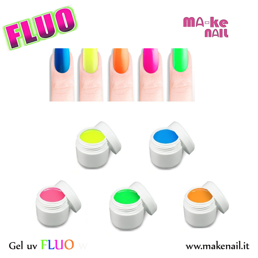 Gel uv fluo ma ke nail prodotti per ricostruzione for Colori fluo