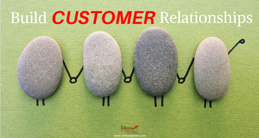 Four rocks with text build customer relationships