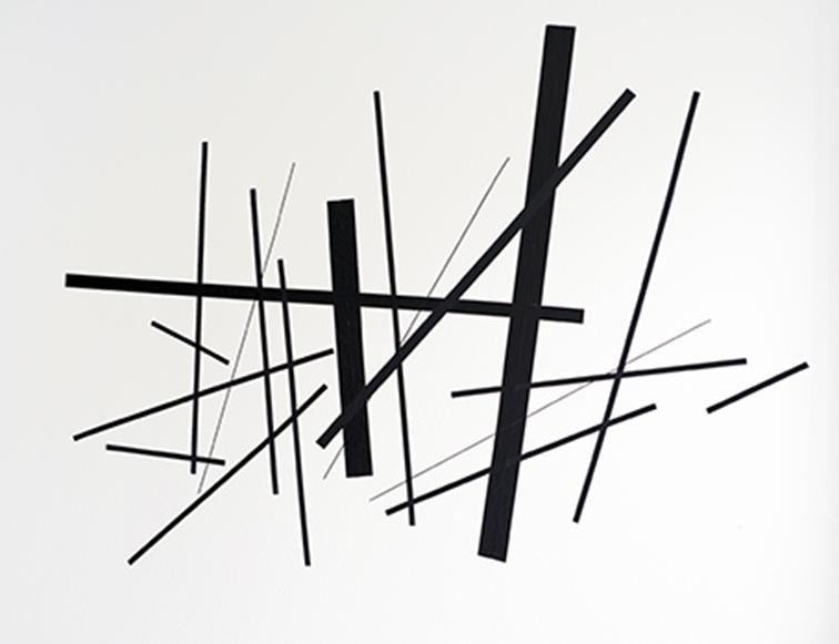 Cornelia Rohde: Komposition. Tape auf Galeriewand, 180 x 240 cm, 2017