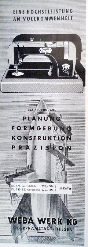 WEBA Anzeige späte 50er Jahre