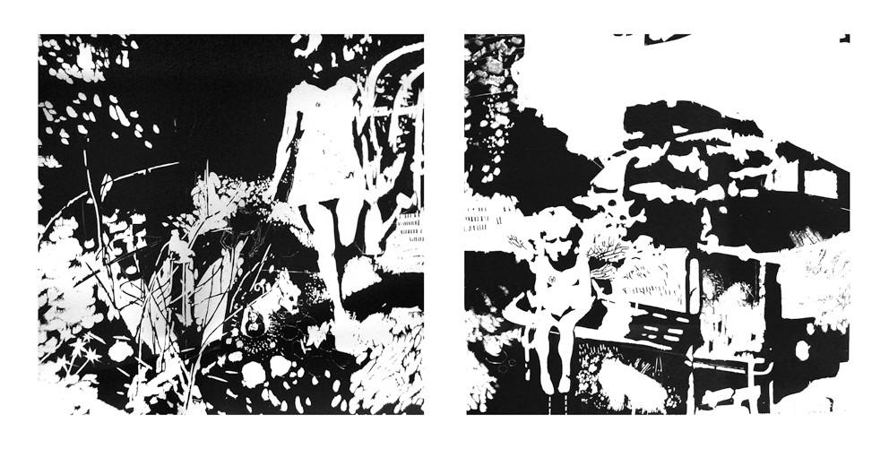 Mädchen im Garten  4/// 2 teilig///Holzschnitt auf Bütten///2 x 90 cm x 90 cm///2008