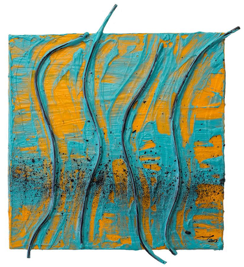 NATÜRLICH UNNATÜRLICH (2013, 20x20cm, Assemblage, Acryl auf Leinwand, MP5004) © Michael Pfenning. Verkauft/Sold