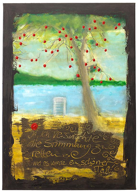 BEIM BAUM MIT DEN ROTEN FRÜCHTEN (2012, 50x70cm, Photographie, Inkjet-Pigmentdruck auf Leinwand, Acryl, MP0304) © Michael Pfenning. Verkauft/Sold