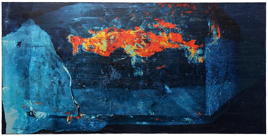 BLAUES NACHTGLÜHEN (2013, 1/8, 79x40cm, MP0324, Photographien, Fine Art Print, auf MDF, Acryl) © Michael Pfenning. Verkauft 3 von 8.