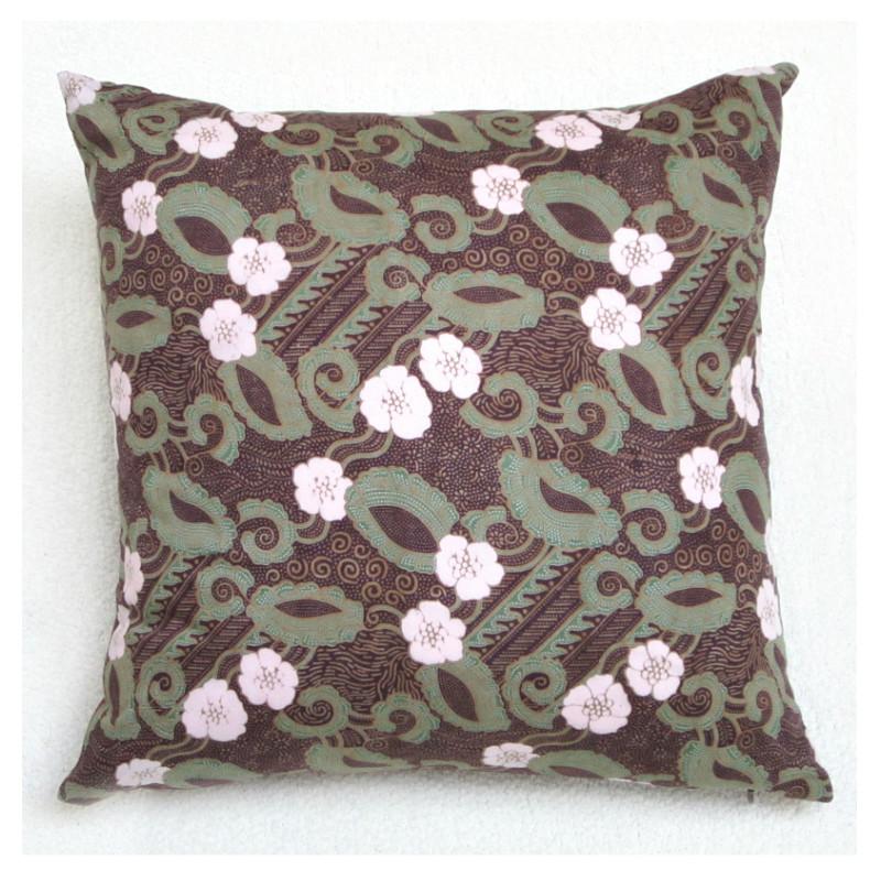 Burgundy Floral Throw Pillows : Floral Handscreened Pillow - Textiil - Modern Global Decor & Artisan Textiles