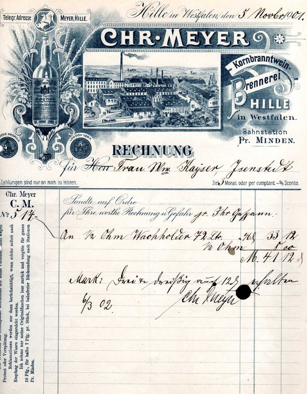 1901- Alter Hiller Doppelkorn guter Ersatz für Cognac